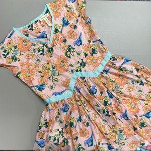 Matilda Jane Bird Dress Floral Pink Short Sleeve